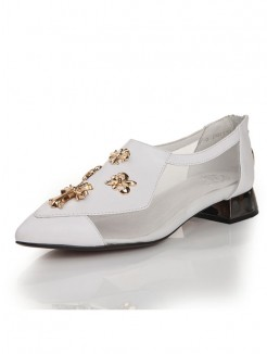 Sheepskin Net Satin Pointed Toe High Heels with metallic decorative pieces