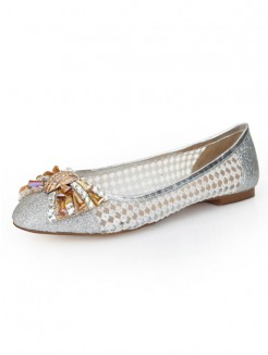 Fashion Silver Net Sheepskin Flat Shoes