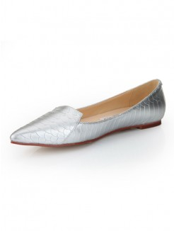 Silver Fish-scale Pattern Flat Pointed Toe Shoes