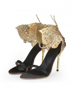 Gold Butterfly Sheepskin Laser Sandals