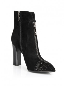 Black Suede Rhinestones Pointed Toe Boots S5LSDN1216LF