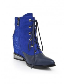 Blue Suede Rhinestones Wedges Boots S5LSDN1243LF