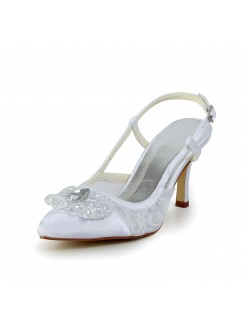 Satin Cone Heel Closed Toe Shoes With Buckle Rhinestone