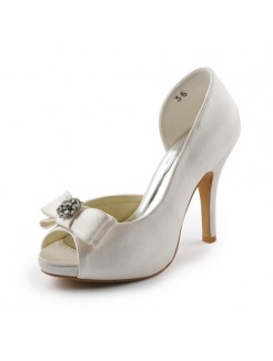 Cheap Satin Cone Heel Peep Toe Platform Sandals Wedding Shoes With Bowknot Rhinestone