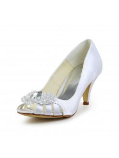Satin Cone Heel Peep Toe Pumps Sandals Wedding Shoes With Rhinestone Hollow-out