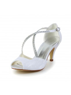 Satin Cone Heel Peep Toe Sandals Shoes With Rhinestone Buckle