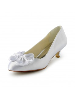 Satin Low Heel Pumps With Bowknot Wedding Shoes