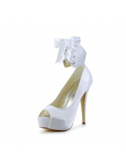 Satin Peep Toe High Heel Shoes