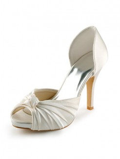 Satin Stiletto Heel Peep Toe Platform Pumps Wedding Shoes With Bowknot
