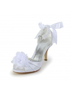 Satin Stiletto Heel Peep Toe Wedding Shoes With Imitation Pearl