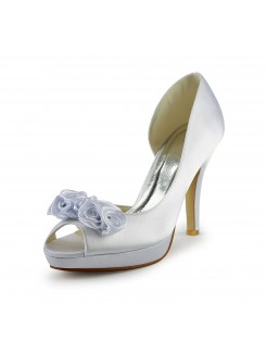 Satin Stiletto Heel Peep Toe With Flower Wedding Shoes
