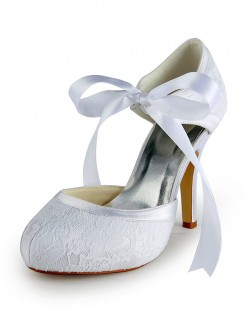 Satin Stiletto Heel Pumps with Lace Wedding Shoes