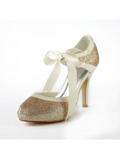 Satin Stiletto Heel Pumps With Sparkling Glitter Wedding Shoes