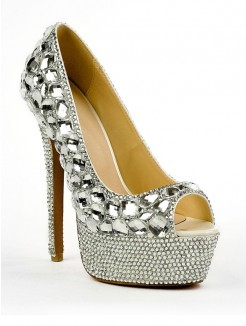 Rhinestones Peep Toe Patent Leather High Heels