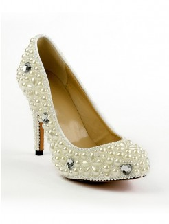 Patent Leather Pearls Round Toe High Heels