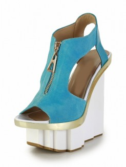 Green Patent Leather Wedges