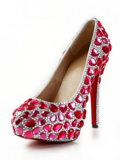 Rhinestones Patent Leather High Heels