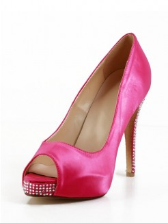 Silk Rhinestones Leatherette High Heels