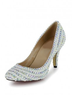 Pearls Rhinestones Round Toe High Heels