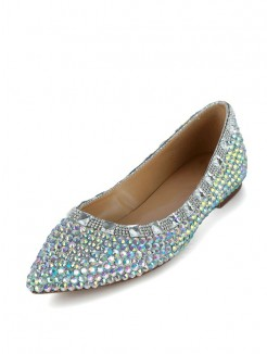 Patent Leather Rhinestones Flats