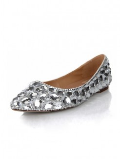 Shine Sheepskin Rhinestones Flat Shoes
