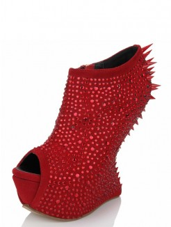 Red Unique Fashion Suede Rhinestones Shoes