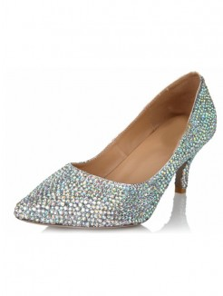 Rhinestones Pointed Toe High Heels