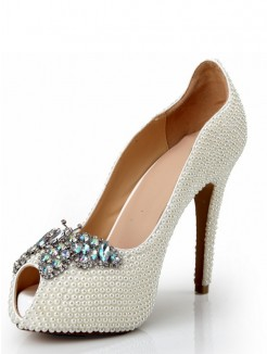 Pearls Rhinestones Peep Toe High Heels