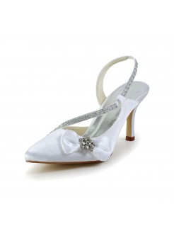 Stylish Satin Closed Toe Shoes With Rhinestone Bowknot