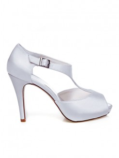 Women's Satin Peep Toe With Buckle Stiletto Heel Wedding Shoes