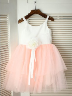 A-line/Princess Spaghetti Straps Sleeveless Hand-made Flower Floor-length Tulle Flower Girl Dresses