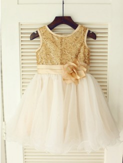 A-line/Princess Scoop Sleeveless Sequin Floor-length Organza Dresses