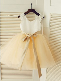 Straps Ball Gown Sleeveless Sash/Ribbon/Belt Floor-length Tulle Dresses