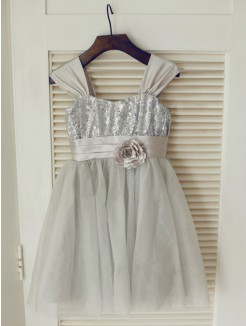 A-line/Princess Straps Sleeveless Bowknot Floor-length Tulle Dresses