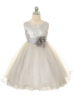 Ball Gown Jewel Sleeveless Hand-Made Flower Floor-length Organza Dresses