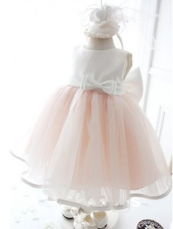 Ball Gown Jewel Sleeveless Bowknot Tea-length Organza Dresses