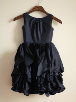 A-line/Princess Jewel Sleeveless Floor-length Taffeta Dresses