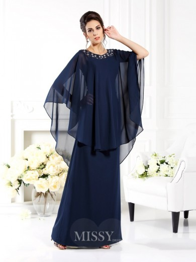 A-Line/Princess Scoop 3/4 Sleeves Floor-Length Chiffon Mother of the Bride Dress