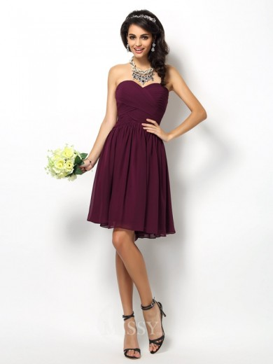 A-Line/Princess Sleeveless Sweetheart Pleats Short/Mini Chiffon Bridesmaid Dresses