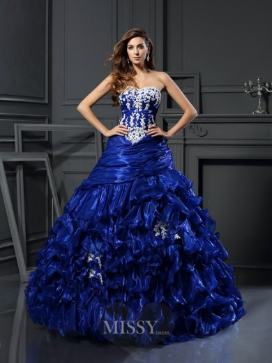 Ball Gown Sweetheart Tulle Sleeveless Beading Floor-Length Applique Dresses