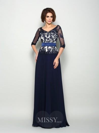 A-Line/Princess 1/2 Sleeves Chiffon Applique V-neck Sweep/Brush Train Mother of the Bride Dress