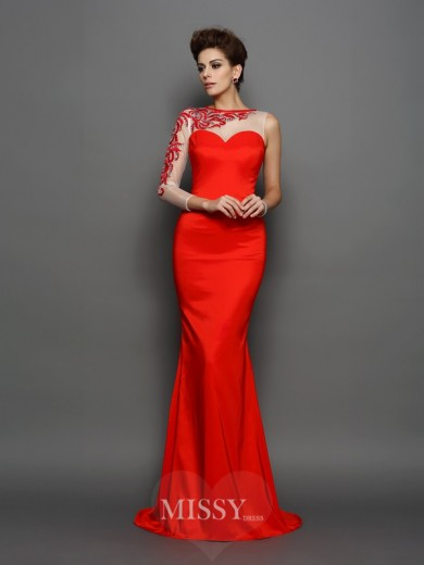 Trumpet/Mermaid High Neck Long Sleeves Elastic Woven Satin Embroidery Court Train Dresses