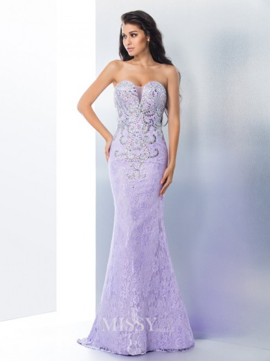Trumpet/Mermaid Sleeveless Sweetheart Beading Lace Sweep/Brush Train Gown