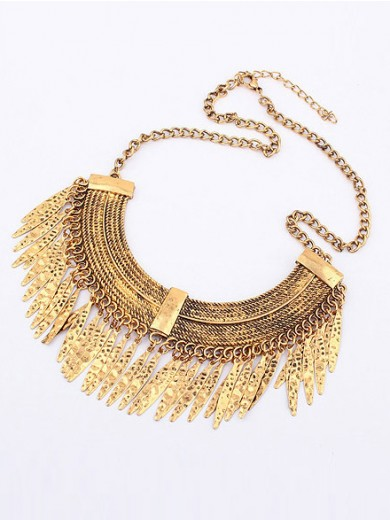 Korean version Retro Arcuated Willow pattern Water Drop Necklace
