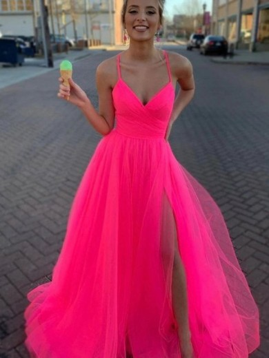 A-Line/Princess Sleeveless Tulle V-neck Ruched Sweep/Brush Train Dress