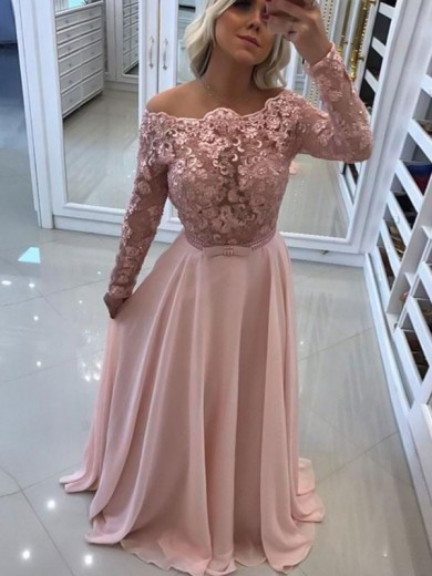 Floor-Length A-Line/Princess Long Sleeves Chiffon Dresses