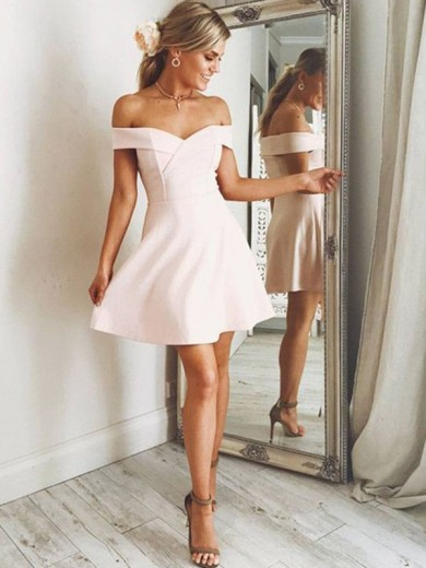A-Line/Princess Satin Sleeveless Off-the-Shoulder Short/Mini Dresses