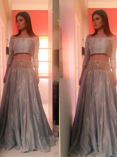 A-Line Off-the-Shoulder 3/4 Sleeves Floor-Length Beading Satin Two Piece Dresses