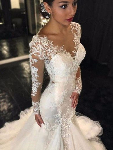 Trumpet V-neck Long Sleeves Lace Court Train Tulle Bridal Dress