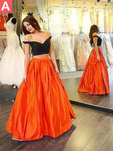 A-Line/Princess Off-the-Shoulder Sleeveless Taffeta Floor-Length Ruffles Two Piece Dresses